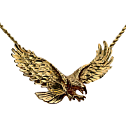 14K Sculptural Eagle on Rope Chain Necklace 24.5""