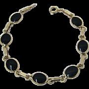 """Elegant 14K Black Onyx Discs Link Bracelet 7 1/2"""""""