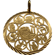 1960s 14K Gold Pendant Greek Parthenon Ruins Cut Work 40mm