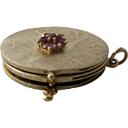 1960s 14K Gold Ruby Cluster Triple Locket Pendant