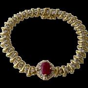 """14K  Champagne Diamonds Ruby Center Link Bracelet 6.75 TCW Sz 7 3/4"""""""