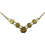 """18k Necklace w/ 22K Coins/Medals Prize Jewellery Modern Flower 17"""""""