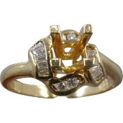 18K Gold Engagement Ring Setting w/ Diamonds Around Center Size 6