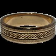 18K Band Ring w/ Beautifully Incised Geometric Patterns Sz 6 1/4