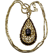 18K Garnets Pendant 14K Box Chain Necklace 18""