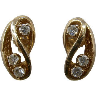 14K Stylized Figure 8 Earrings w Diamonds .38 TCW Post