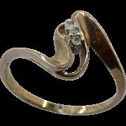 10K Zig Zag By-Pass Diamonds Ring Signed CM Sz 7 1/2