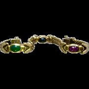 "Italian 14K Bracelet Ruby Chrsoprase Sapphire Cabochons 7 1/4"""