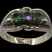 Vintage 10K Ring w/ Green Topaz Amethyst Stones Sz 8