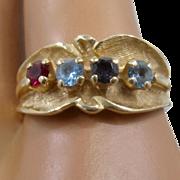 Vintage 14K Ring w/ Topaz Ruby Amethyst Stones Sz 8