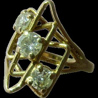 Moderne 14K Diamonds Geometrics Ring 1.25 TCW Sz 6 3/4