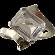 B&F 10K White Gold Topaz Deco Ring Ca 1940s Sz 7