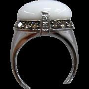 14K WG White Agate Ring w/ Champagne & White Diamonds Carlo Viani Sz 7 1/4