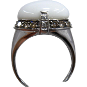 14K White Agate Ring Champagne & White Diamonds Carlo Viani Sz 7 1/4