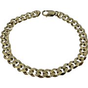 "Solid 14K Curb Chain Bracelet 21.8 Grams 9""Long"