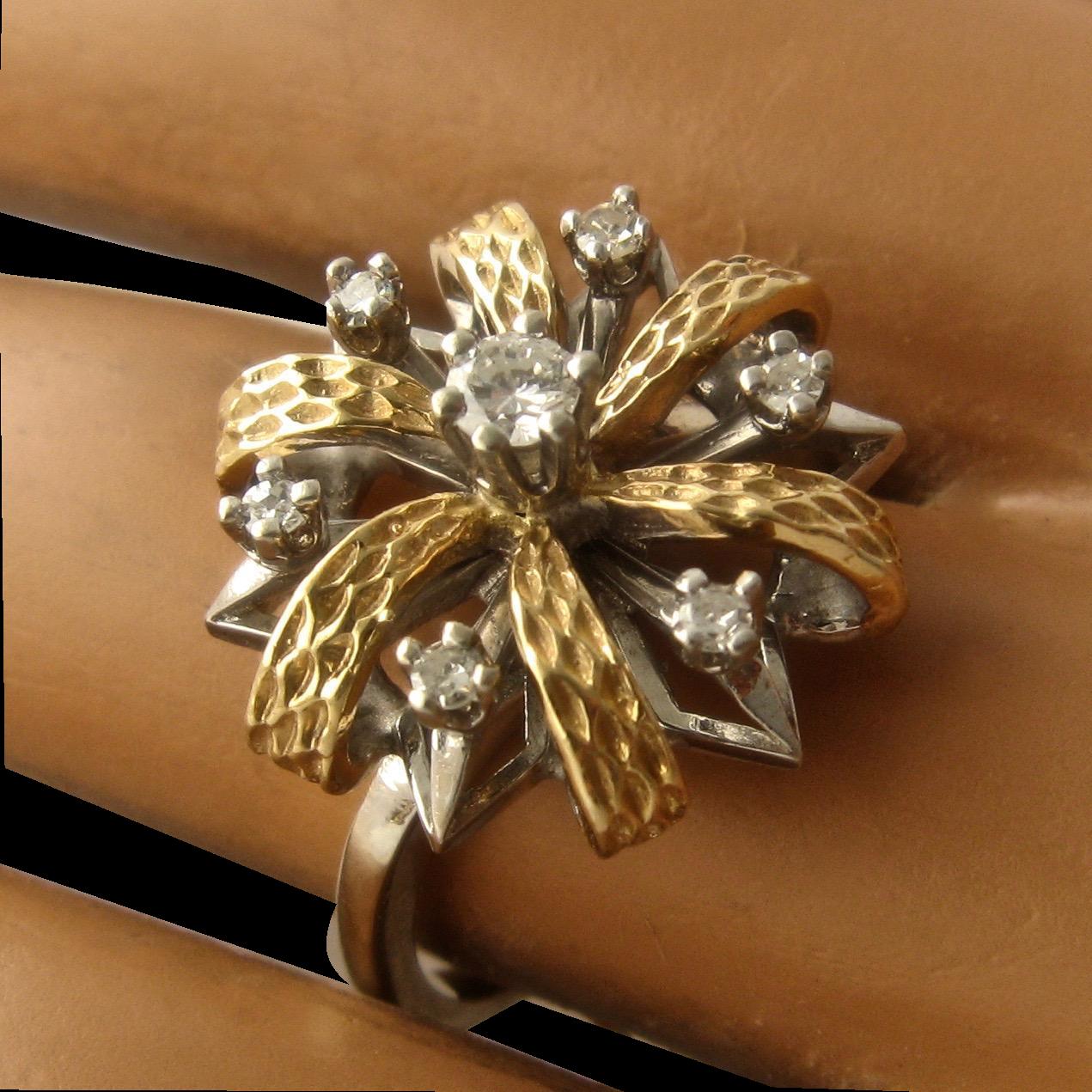 Ca 1950s 14k White Yellow Gold Diamonds Flower Ring By Famor Sz 8