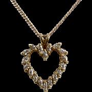 !4K Heart Shape Marquise Diamonds .9 TCW Pendant Necklace