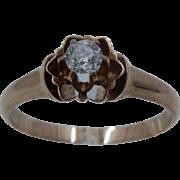 14K Rose Gold Old European Cut Diamond Lotus Flower Ring Sz 6
