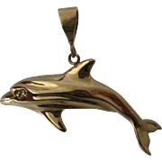 Big 14K Gold Dolphin Pendant Diamond Eye 7.2 Grams