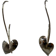 "14K Heart Shaped Leaf Earrings Signed ""K"" 1 3/8"" Drop"