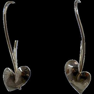 """14K Heart Shaped Leaf Earrings Signed """"K"""" 1 3/8"""" Drop"""