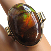 Huge 14K Fire Agate Cabochon Ring 24 Carats Size 8 3/4