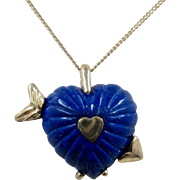 """Chunky Lapis Heart 14K Gold Necklace Artist Made 20.5"""" Chain"""