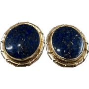 14K Deep Blue Lapis Oval Post Earrings Big Studs