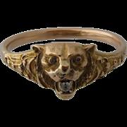 Ca 1900 10K Lion's Head Bangle Bracelet Repousse