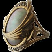1980s 14K Mabe Pearl Diamonds Deco Style Ring Sz 8.5