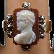 Victorian 14K Sardonyx Cameo Ring Marcasites Hardstone Hermes  Sz 7.5