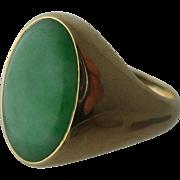 Heavy Mens 14K Oval Jade Cabochon Ring Sz 10 1/2