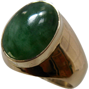 Big Heavy 14K Jade Jadeite Mens Ring Size 10