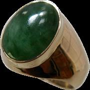 Big Heavy 14K Jade Jadeite Mens Ring Size 10