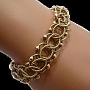 "Vintage 14K Charm Bracelet Double Rope Chain Links 7"""