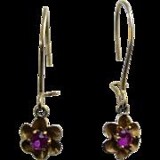 Ca 1900 10K Ruby Flower Drop Earrings Pierced Ears