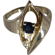 14K Sapphire Abstract Calla Lily Ring Size 6 3/4