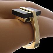 Modernist 14K Rectangular Onyx Ring Size 7 3/4