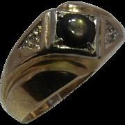 14K Black Star Sapphire Diamond Mens Ring Sz 9 1/4