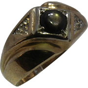 14K Black Star Sapphire Diamond Mens Ring Sz 9 1/4