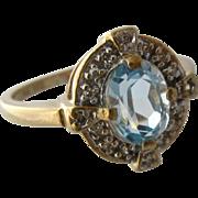 14K Swiss Blue Topaz w/ Diamonds Ring UTC Size 8 1/4