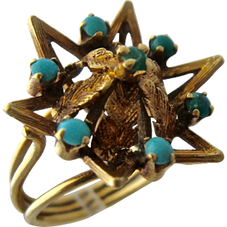Antique 15K Gold Star Ring w/ Turquoise & Leaves Sz 5 3/4