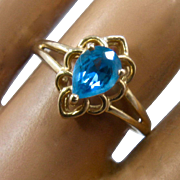 14K Blue Topaz Ring Open Work Setting T&C Sz 8