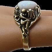 Vintage 14K Opal Nude Woman w/ Harp & Flowers Ring Sz 6 3/4