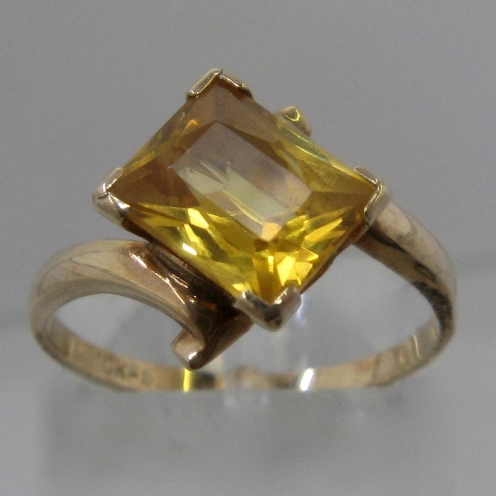Art Deco 10K Yellow Topaz Ring Rectangular 1.75 Carats ...