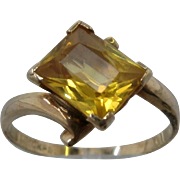 Art Deco 10K Yellow Topaz Ring Rectangular 1.75 Carats PSCo Sz 6 1/2