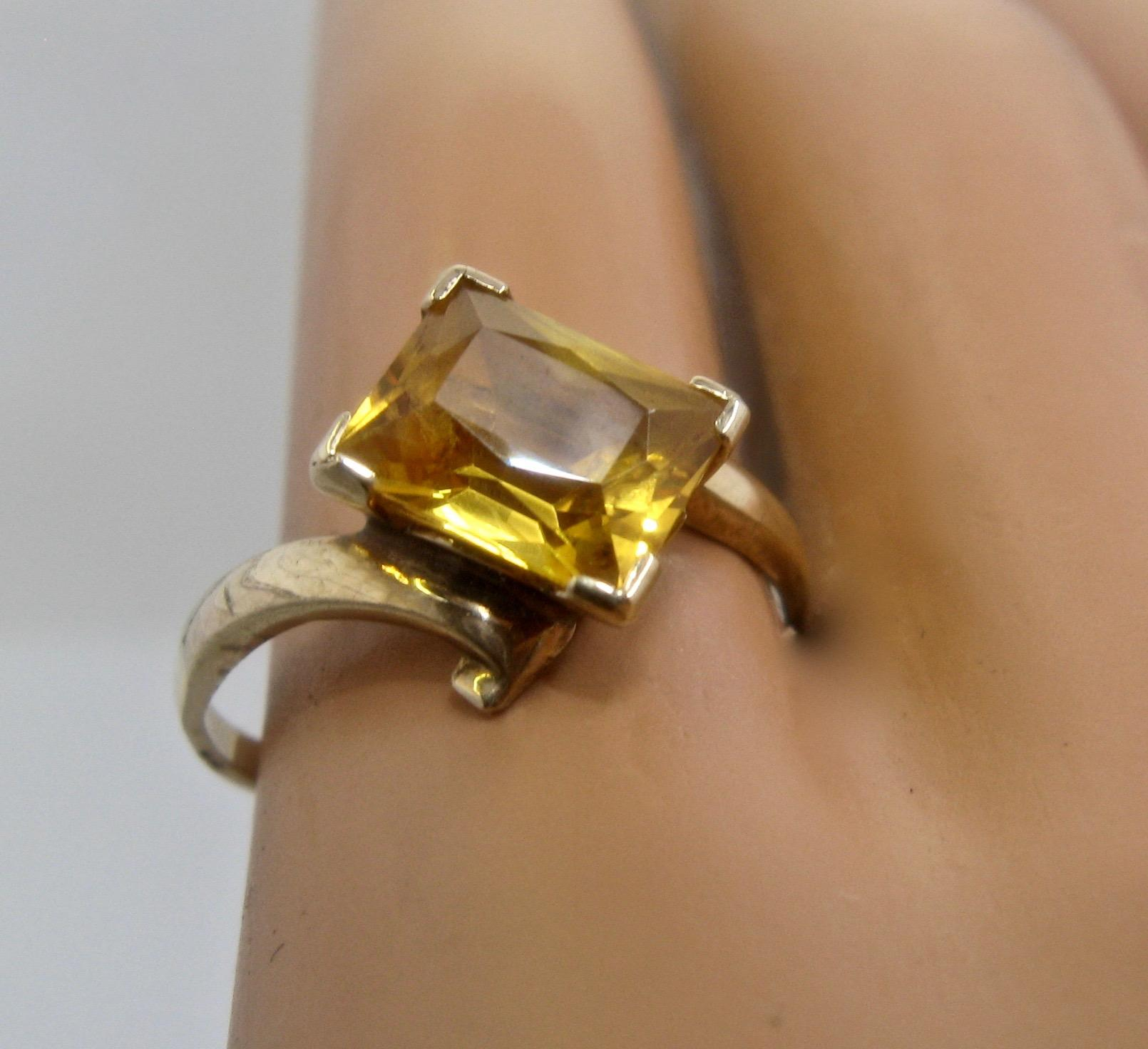 Art Deco 10K Yellow Topaz Ring Rectangular 1 75 Carats PSCo Sz 6 1