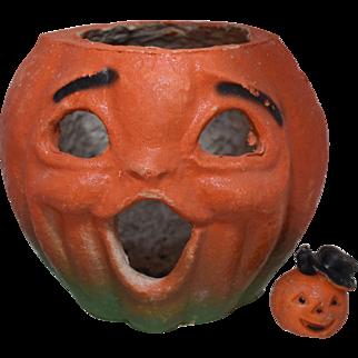 1940s Pulp Jack-O- Lantern Pumpkin Head w/ Halloween Wax Candle