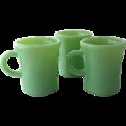 Three 1940s Jadeite Chocolate Mugs C-Handles Heavy Restaurant Ware + 1 - Red Tag Sale Item