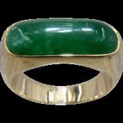 14K Jade Saddle Ring Size 7 1/2